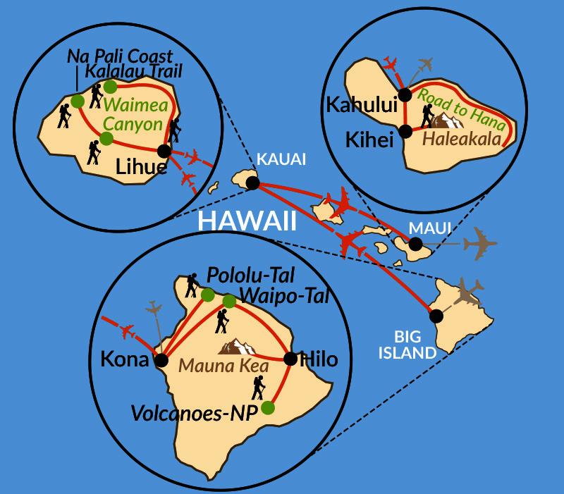 Karte: Hawaii - Vulkaninseln im Südpazifik