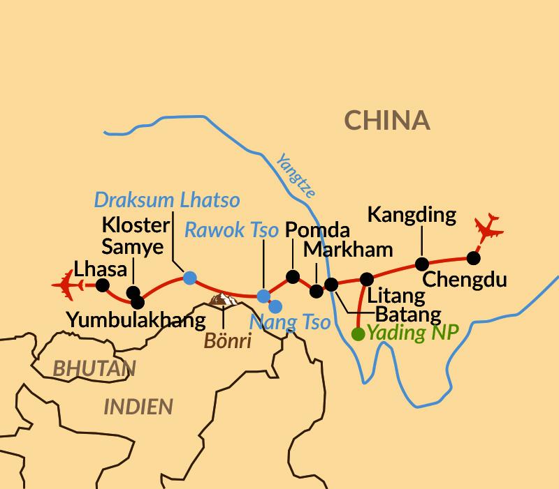 Karte: Durch das wilde Osttibet