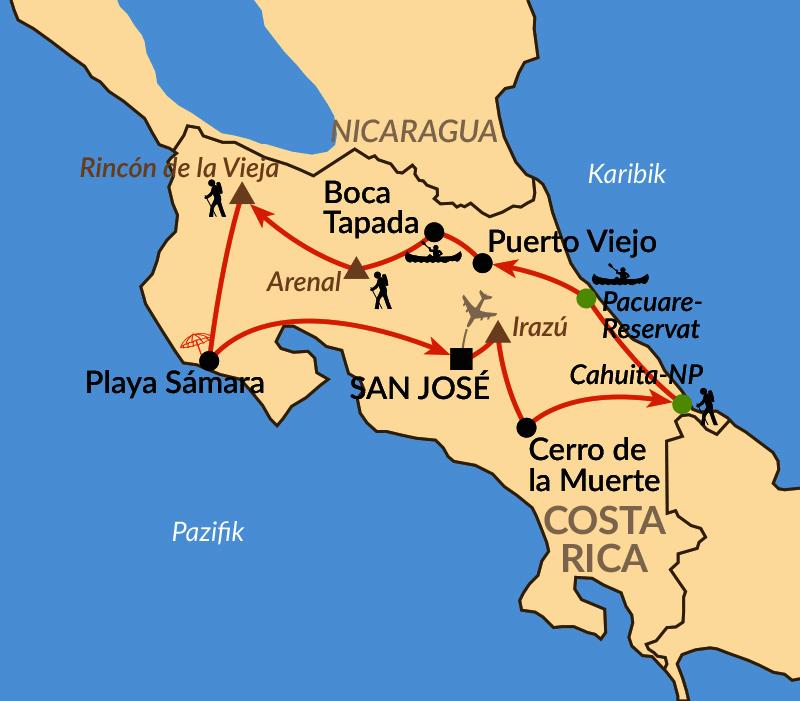 Karte: Costa Ricas Höhepunkte