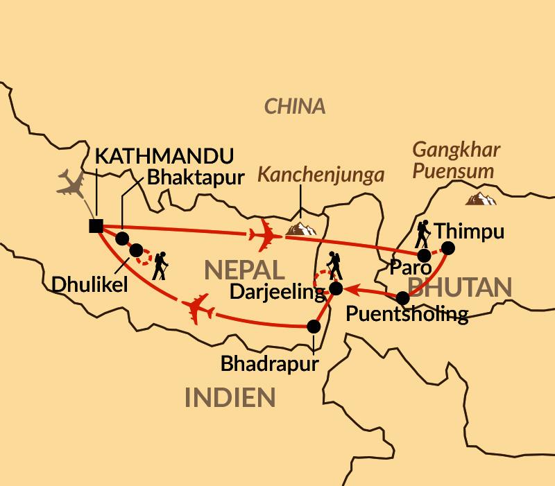 Karte: Zwei Welten im Himalaya - Nepal und Bhutan