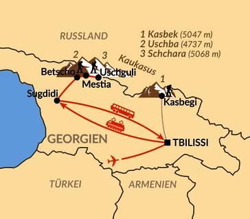 Karte: Schneeschuhwandern im Großen Kaukasus