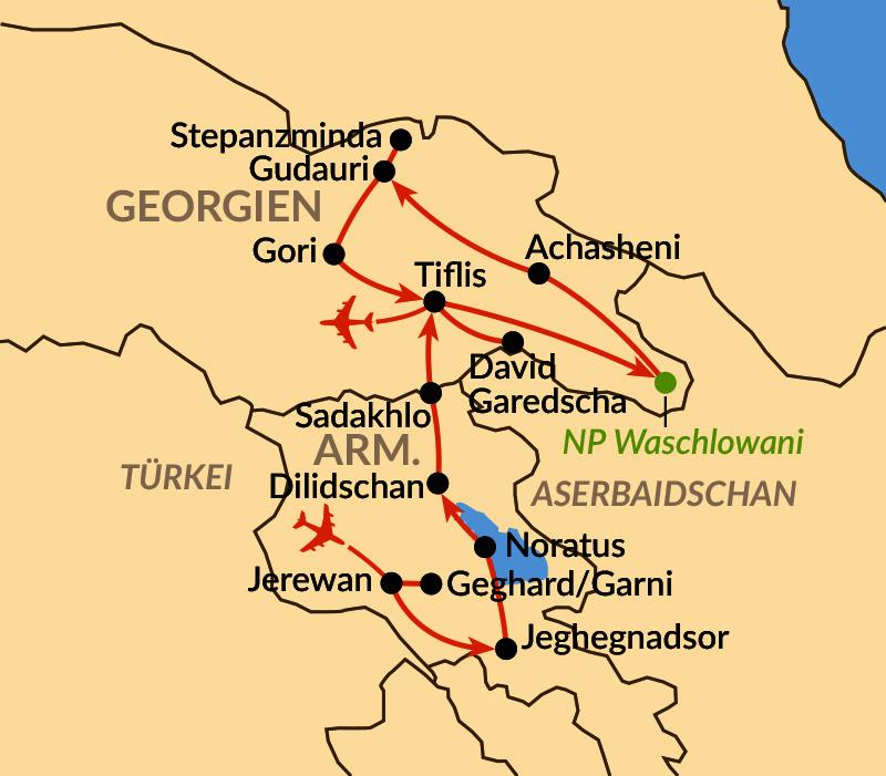 Karte: Zwischen Kleinem und Großem Kaukasus