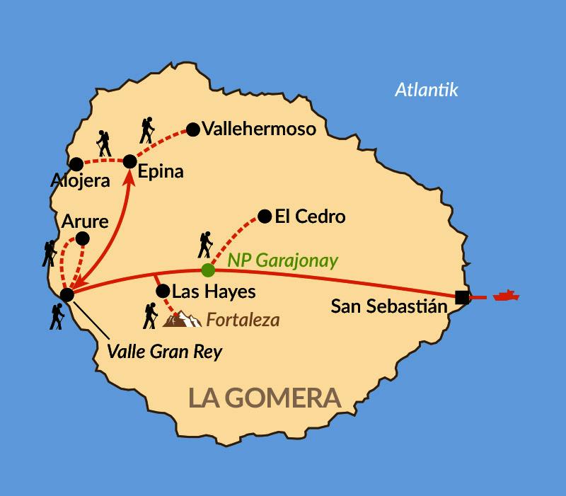 Karte: La Gomera – die schönsten Wanderziele