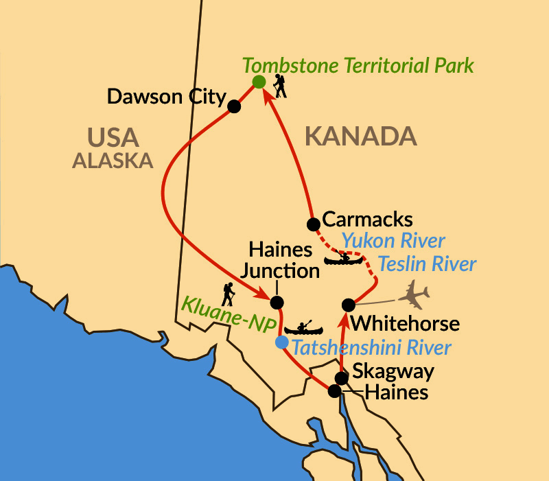 Karte: Outdoorparadies Yukon mit Tombstone Mountains und Kluane-Nationalpark