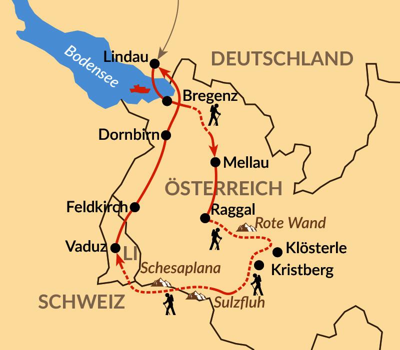 Karte: LiLi – von Lindau nach Liechtenstein