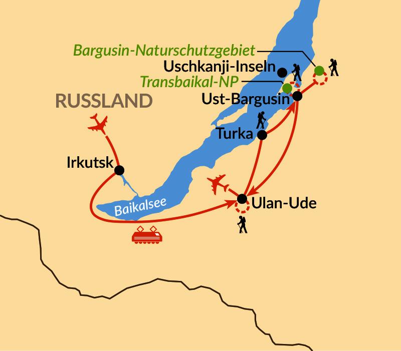 Karte: Burjatien – Auf Entdeckungsreise am östlichen Baikalsee