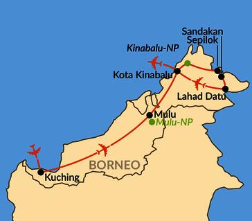 Karte: Borneo – Zu Besuch bei Orang-Utan, Nasenaffe und Zwergelefant