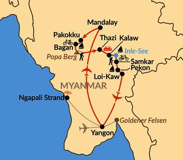 """Karte: Aktiv durch das """"goldene Land Asiens"""