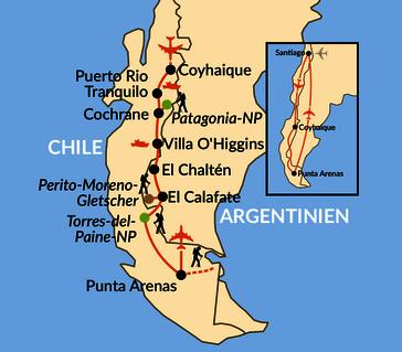 Karte: Wildes Chile – auf unbekannten Wegen zu den Höhepunkten Patagoniens