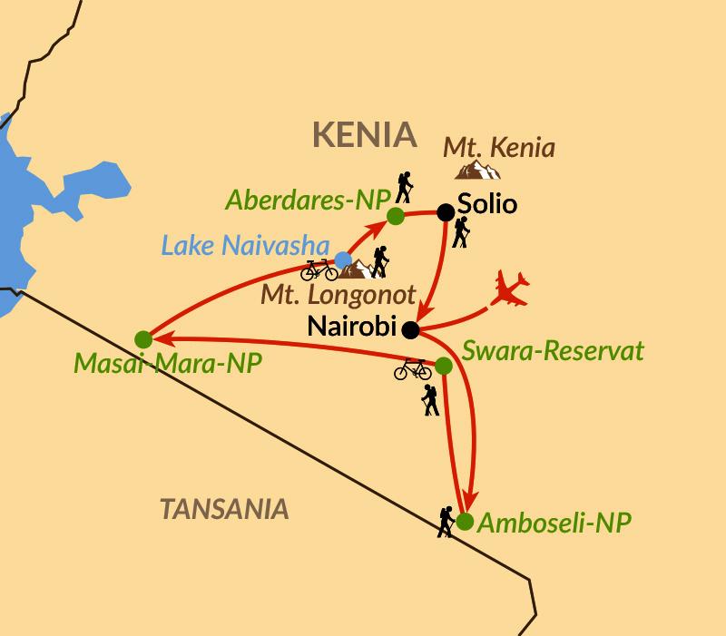 Karte: Aktive Safaris zwischen Mt. Kenya und Kili