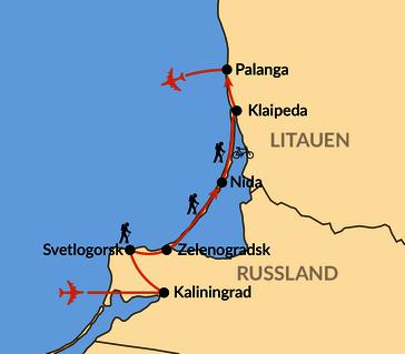 Karte: Von der russischen zur litauischen Ostsee