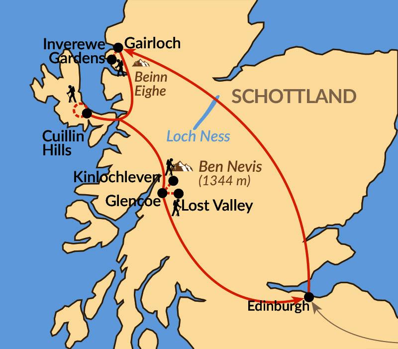 Karte: Auf verwegenen Pfaden durch die Western Highlands