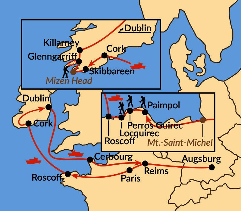Karte: Sonderreise: Bretonischer Küstenzauber trifft irisches Lebensgefühl