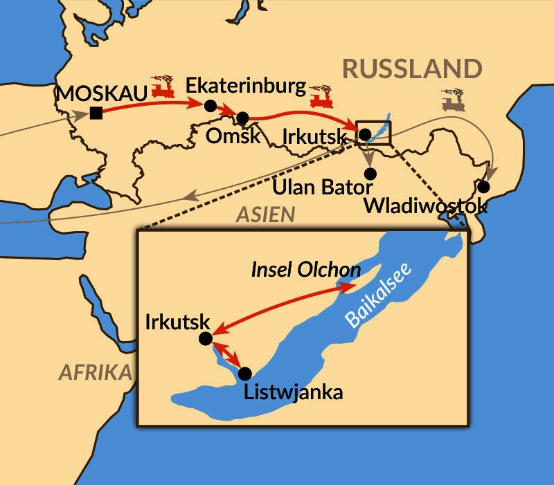 """Karte: """"Transsib zum Baikalsee"""" für Fotobegeisterte"""