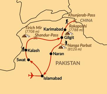 Karte: Vom Hindukusch in den Himalaya