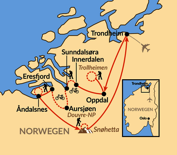 Karte: Wandern und Biketrekking von den Bergen bis zum Fjord