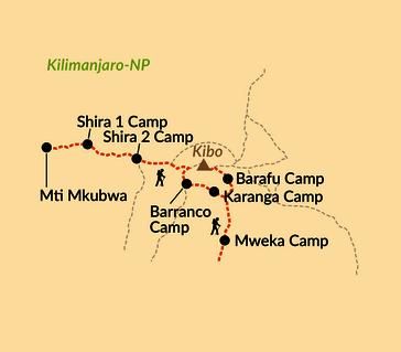 Karte: Kilimanjaro-Besteigung mit entspannendem Ausklang an der heißen Chemka-Quelle