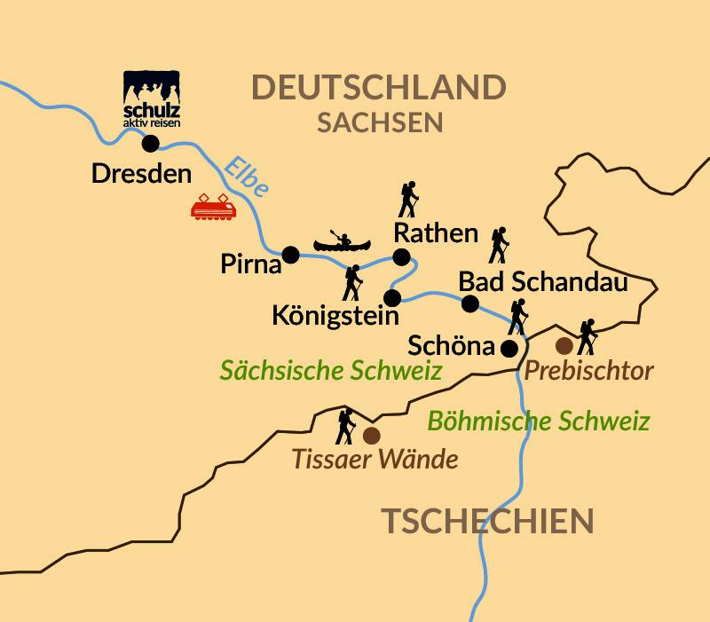 Karte: Sächsische und Böhmische Schweiz – Wandern, Entdecken und Staunen