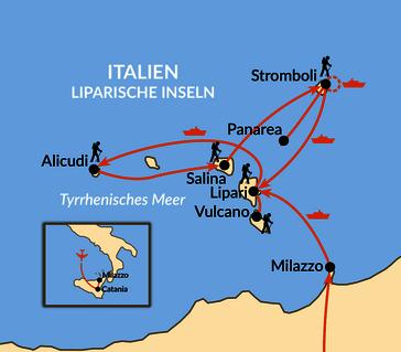 Karte: Liparische Inseln - Zwischen Feuer und Wasser