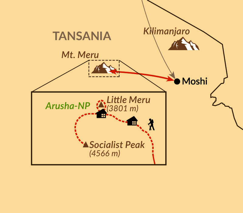 Karte: Mt. Meru-Besteigung mit Safari im Arusha-Nationalpark