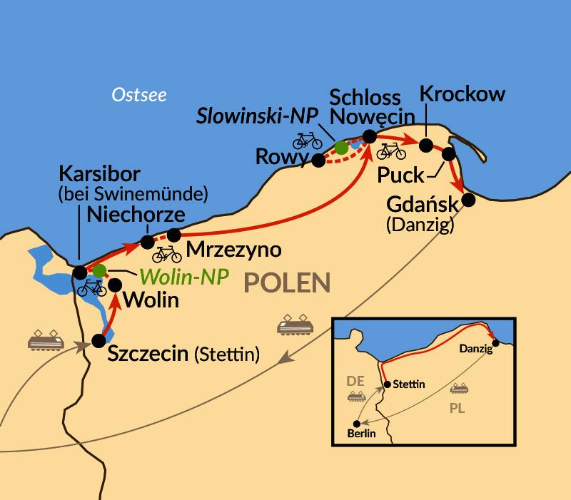 Karte: Die polnische Ostseeküste - per Rad abseits des Mainstreams