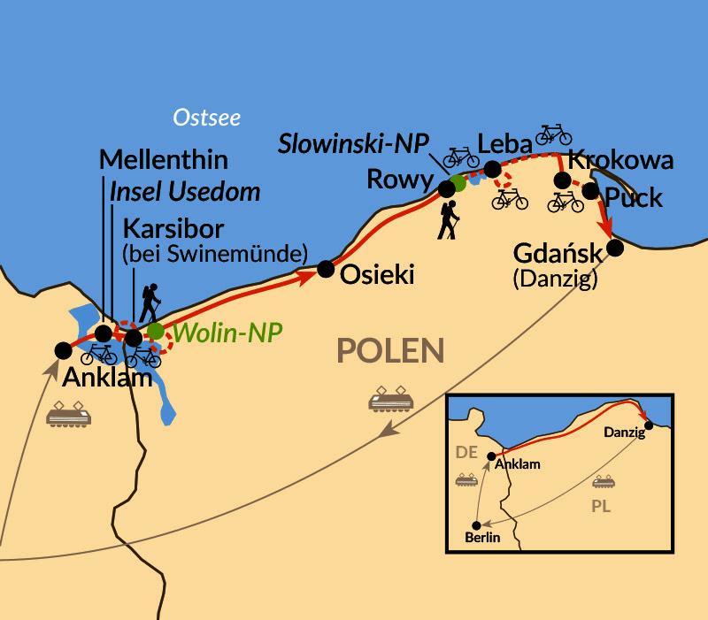 Karte: Die polnische Ostseeküste - per Rad & zu Fuß abseits des Mainstreams