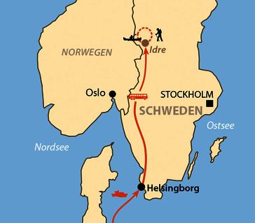 Karte: Sommercamp Idre – Långfjällwanderung