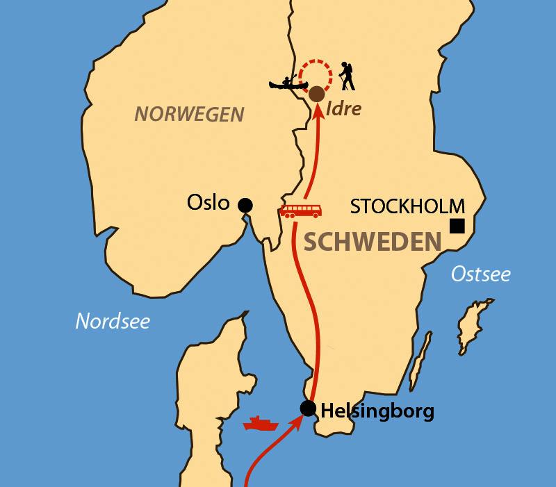 Karte: Sommercamp Idre – Kanuwoche Österdalälven/ Aktivcenter Stömne - Kanuwoche Värmland
