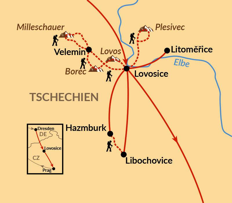 Karte: Das Böhmische Mittelgebirge - vergessenes Wanderparadies
