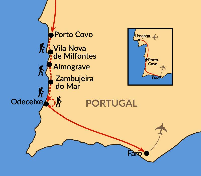 Karte: Zu Fuß an der wilden Atlantikküste – Wandern bis zur Algarve