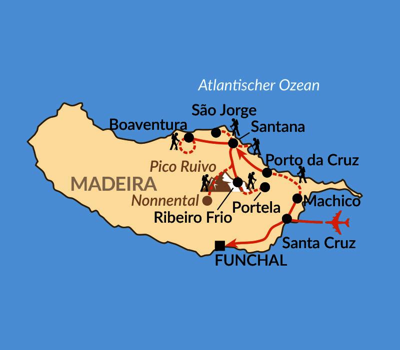 Karte: Das Madeira-Wanderparadies mit Komfort