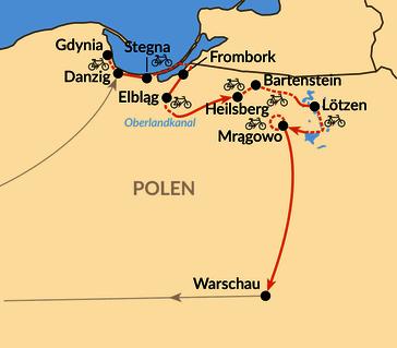 Karte: Radtour von Gdańsk über das Frische Haff und den Oberländer Kanal nach Masuren