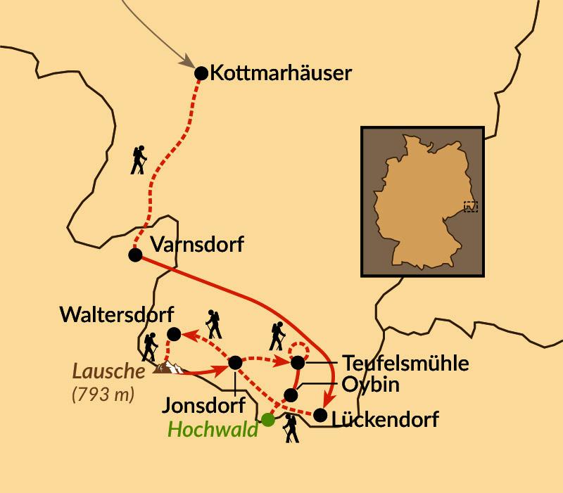 Karte: Naturjuwel Zittauer Gebirge und Oberlausitzer Bergland