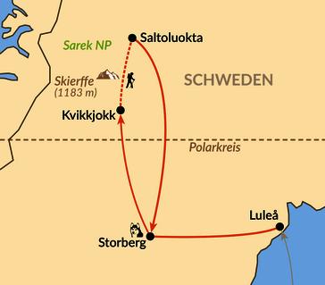 Karte: Trekkingtraum Schwedisch Lappland