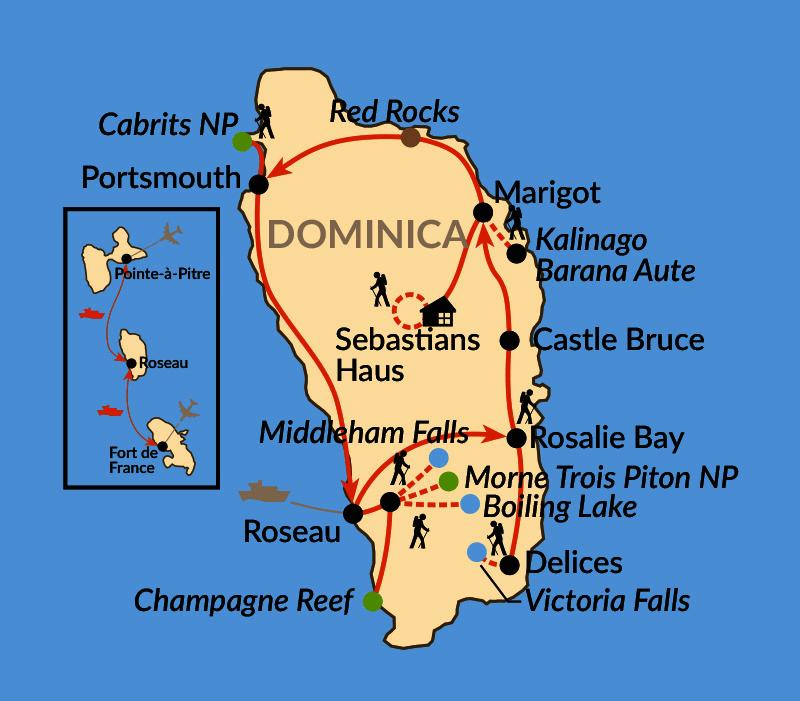 Karte: Dominica – Naturjuwel der Karibik