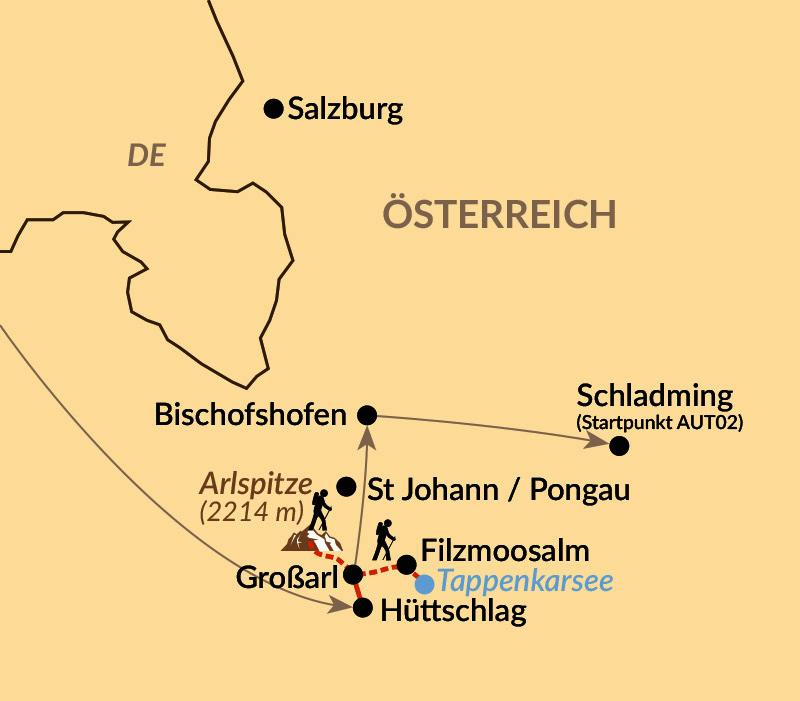 Karte: Wandern im Tal der Almen