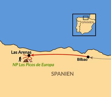 Karte: Picos de Europa – Nationalpark im Kantabrischen Gebirge