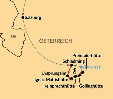 Karte: Von Hütte zu Hütte auf dem Tauernhöhenweg