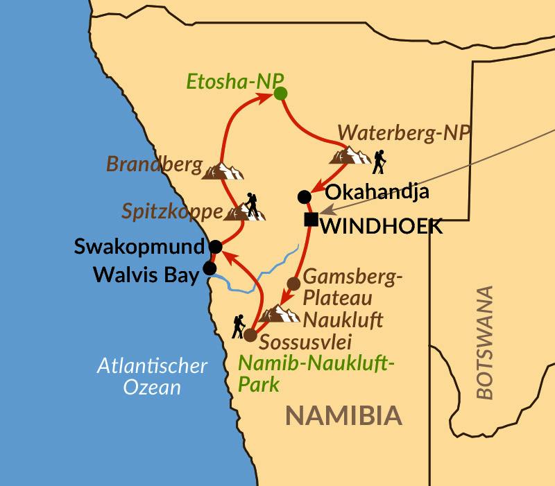 Karte: Namibias Höhepunkte aktiv & hautnah
