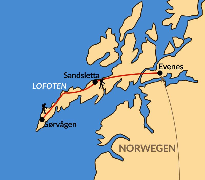 Karte: Nordischer Herbst auf den Lofoten