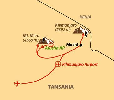 Karte: Mt. Meru, Safari und Kilimanjaro