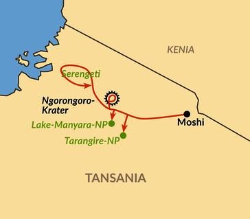 Karte: Reisebaustein: Individuelle Safari im Norden Tansanias