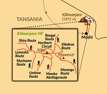 Karte: Reisebaustein: Kilimanjaro individuell