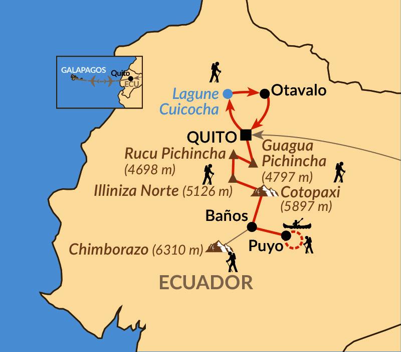 Karte: Vulkantrekking Cotopaxi und Chimborazo
