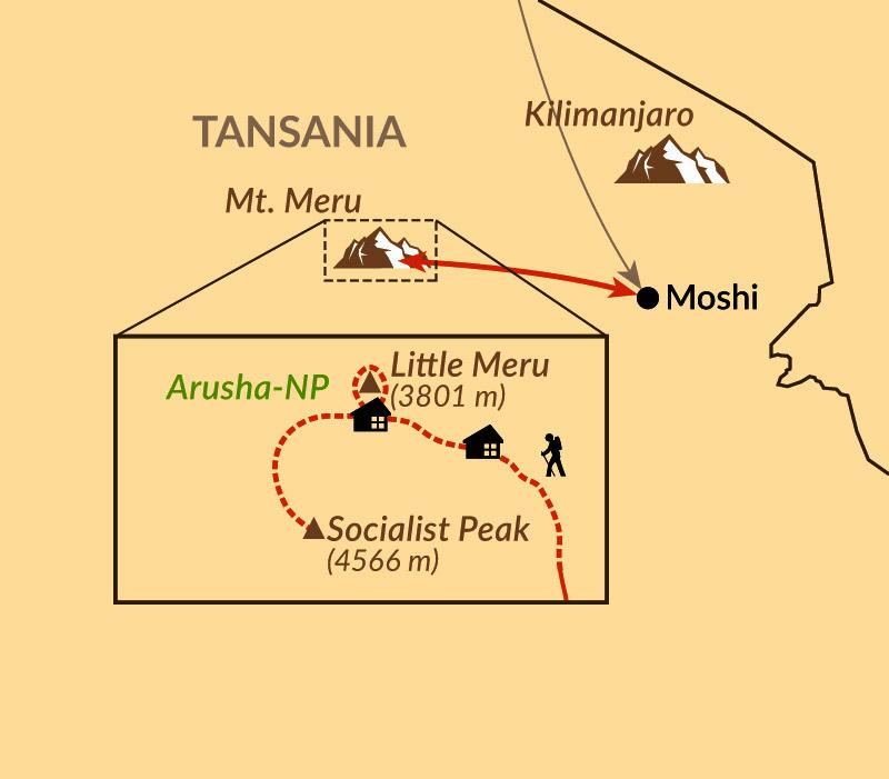 Karte: Reisebaustein: Mt. Meru individuell