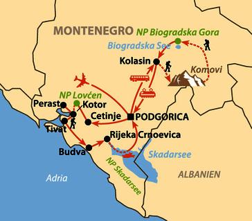 Karte: Wilde Schönheit Montenegro