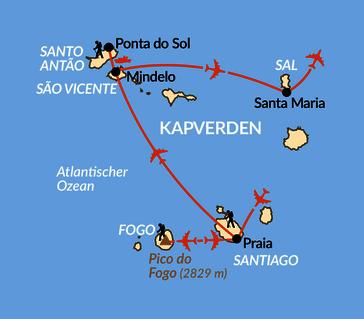 Karte: Cabo Verde - von Insel zu Insel