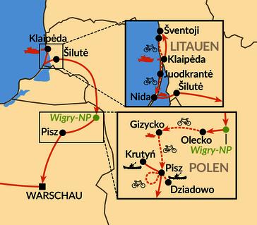 Karte: Von der Kurischen Nehrung nach Masuren