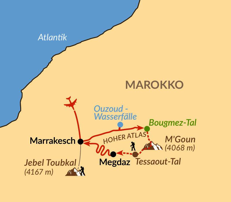 Karte: Überquerung des Hohen Atlas