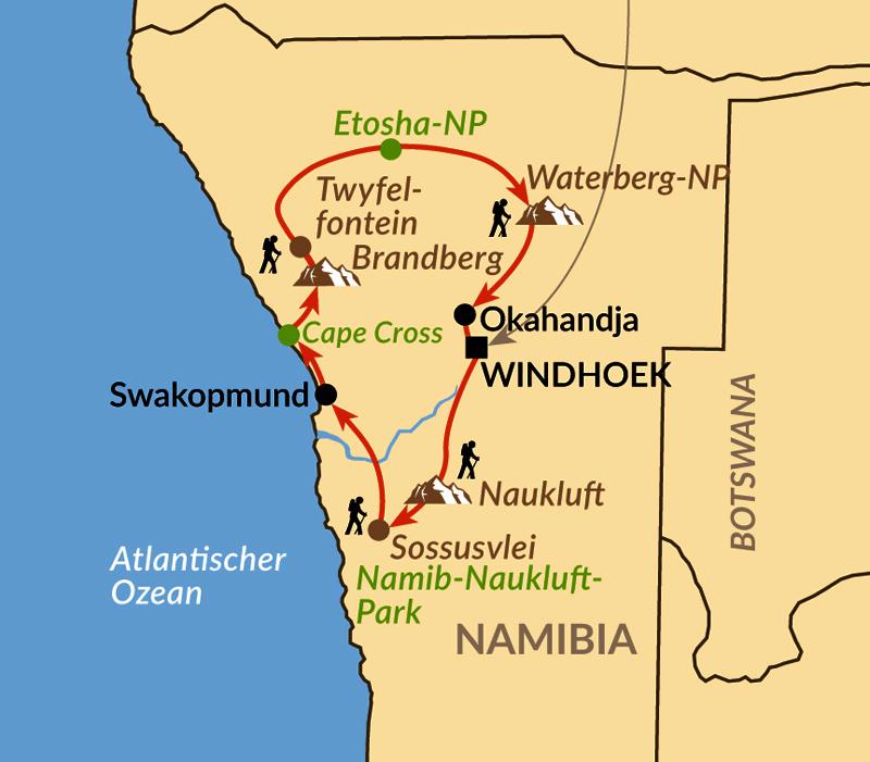 Karte: Wandern im vielseitigen Herzen Namibias (Discover Namibia)